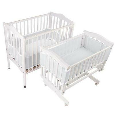 BreathableBaby Breathable Bumper for Portable and Cradle Cribs, White New