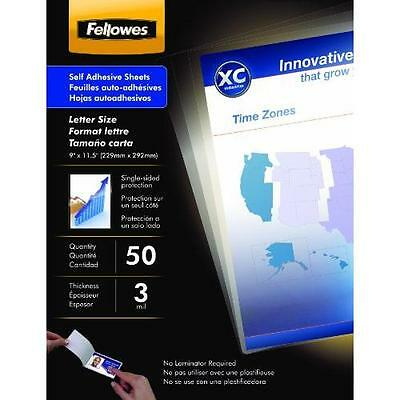 Fellowes Laminating Sheets, Self Adhesive, Letter Size, 3 Mil, 50/Pack New