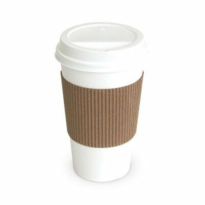 100 Paper Coffee Cup/Disposable Hot Cup 12 oz. WHITE with 100 Cappuccino Lids
