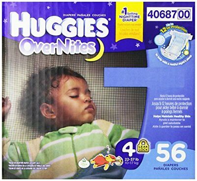 HUGGIES OverNites Diapers, Size 4, 56 ct., Overnight Diapers New