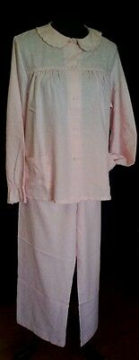Vintage ladies long pyjama set embroidered pink soft fabric by LADY LYN vgvc