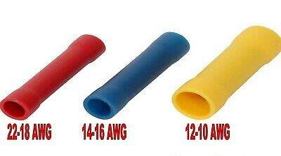 Butt Insulated Terminal Electrical Crimp Wire Connector Red Blue Yellow