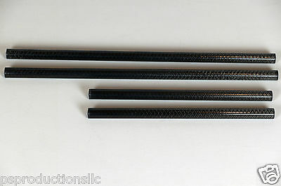 """Carbon Fiber Rods Set, two 10"""" length and two 15""""length 15mm Rods for DSLR Rigs"""