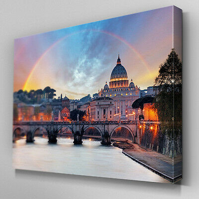 C457 Rome Skyline Rainbow Canvas Wall Art Ready to Hang Picture Print