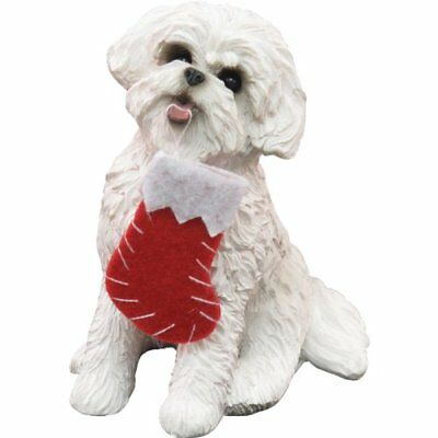 Sandicast Bichon Frise with Stocking Christmas Ornament New