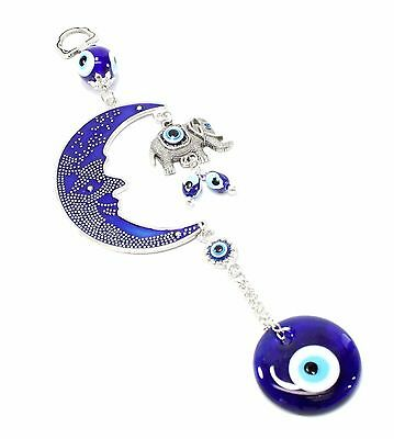 Blue Evil Eye Moon & Elephant Amulet Protection Wall Hanging Decor Blessing Gift