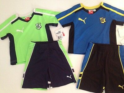 Puma Baby Boys Size 12 Months Soccer Shirt Shorts Set Outfit Green Blue Black