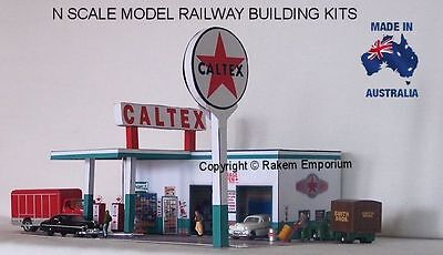 N Scale Caltex Garage Petrol Station Model Railway Building Kit - NCTS1