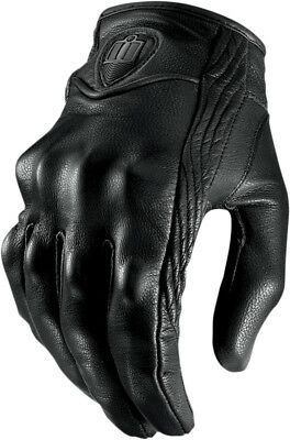 ICON Pursuit Short Leather Motorcycle Gloves (Stealth/Black) Choose Size