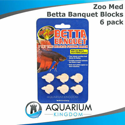Zoo Med Betta Banquet 7 Day Feeder Blocks 6pk Holiday Vacation Pellets Fish Food