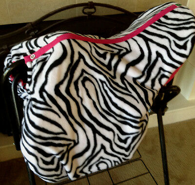 Custom Made Fleece Zebra and Hot Pink Saddle Cover with Embroidered Bridle Bit