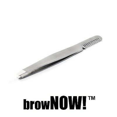 browNOW! Eyebrow Tweezer - Slanted Professional Brow Shaper & Steel Brush Comb