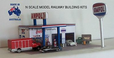 N Scale Ampol Garage Petrol Station Model Railway Building Kit - NAPS1