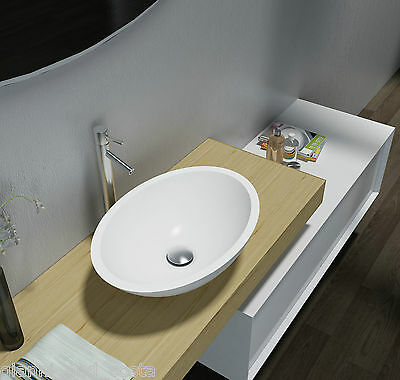 """Bathroom Oval Above Counter Top Basin """"Stone"""" Solid Surface Gloss Finish"""