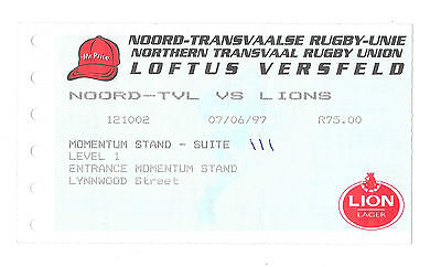 1997 - Northern Transvaal v British Lions, Touring Match Ticket.