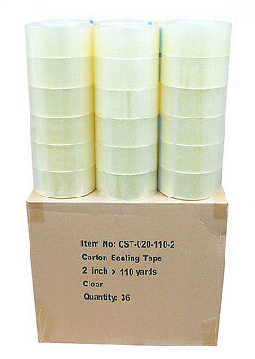"36 Rolls Clear 2 Mil Carton Shipping Box Sealing Packing Tape 2"" x 110 Yards"
