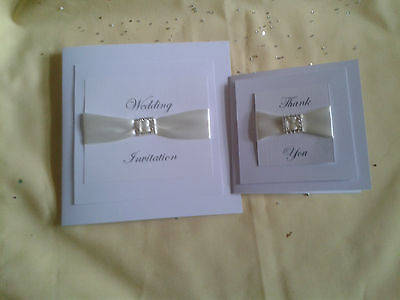 Wedding/Party Invitations  Cards Hand Made to Order choose ribbon colour