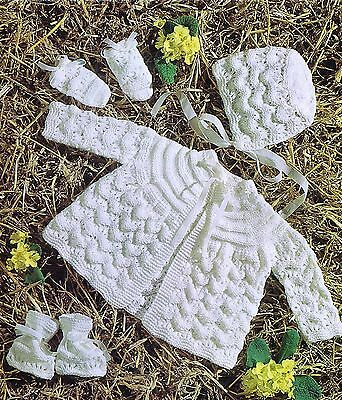 Baby Knitting Pattern To Make Vintage Matinee Coat Bootees Mittens Bonnet