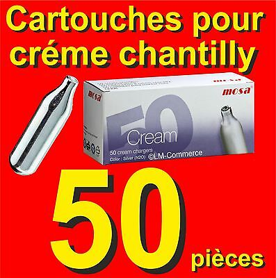 50 x 8g N2O Mosa Cartouches Capsules Crème Chantilly pour Siphons NOS NOZ