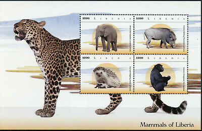 Liberia 2015 MNH Mammals of Liberia 4v M/S I Elephants Leopards Hedgehogs