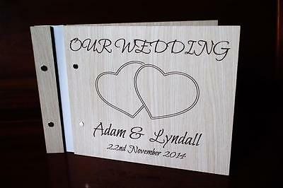 Love wooden guest book photobook our wedding bride and groom engraved rustic a5