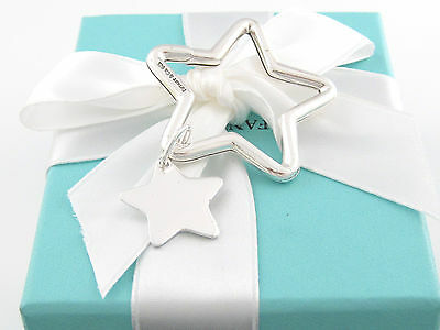 Tiffany & Co Silver Double Star Keychain Key Chain Ring Box Included