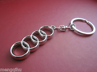 Audi Logo Stainless Keyring Key Ring Key Chain Key 4 Jointed Circles