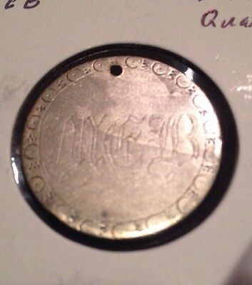 """Love Token US Seated Silver Quarter """"MEB"""" 1856 Circulated Coin"""
