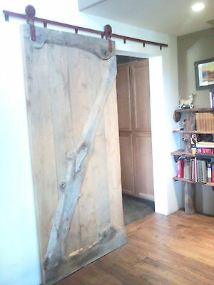 Hand Milled Oak Barn Door with Louden Rollers