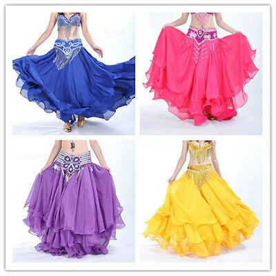 Belly Dance Dancing Costume Skirt 3 Layers Long Full Skirt Gradient 12 Colors