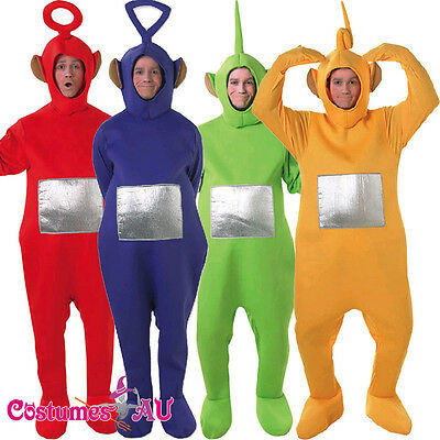 Adults Teletubbies Costume Licensed Party Fancy Dress Outfit Unisex Jumpsuit