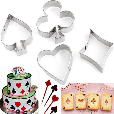 Poker Cookies Cutter Stainless Mould Cake Biscuit Pastry Baking Mold Sugarcraft