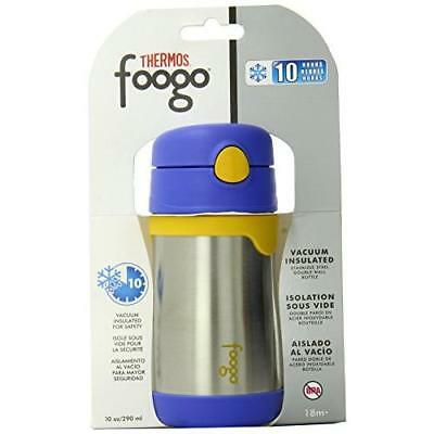THERMOS FOOGO Blue/Yellow Vacuum Insulated Stainless Steel 10 OZ Straw Bottle