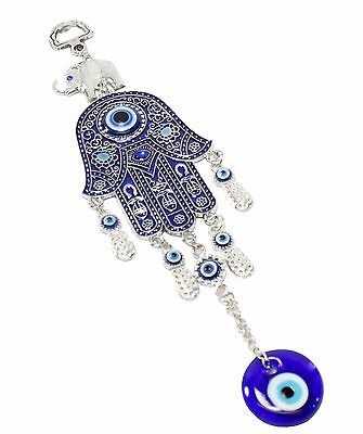 "Turkish Blue Evil Eye 2.5"" Hamsa Hand Elephant Amulet Wall Protection Hanging"