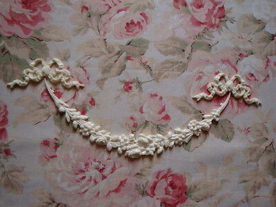 FLEXIBLE ROSE FLORAL SWAG WITH BOWS 3PCS. Furniture Applique Architectural Trim