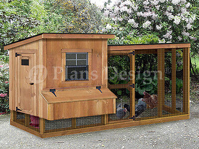 Chicken Coop / Hen House Plans with Kennel / Run 2 in 1 Combo,  Design # 60410ML