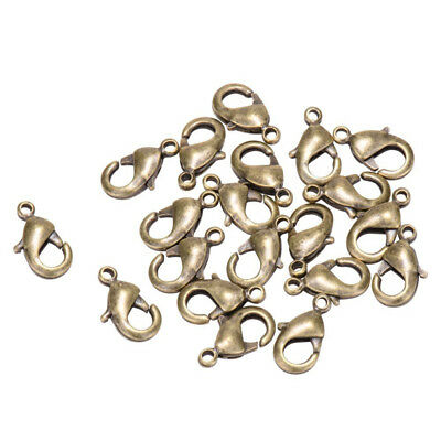 200pcs Brass Lobster Claw Clasps Antique Bronze Trigger Clasps Nickel Free 12mm