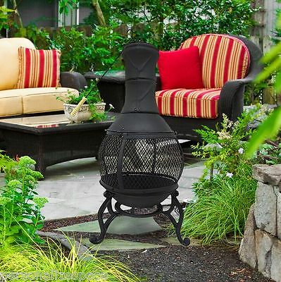 Heavy Duty Black Cast Iron Chiminea w/Fire Stoker Fireplace Outdoor Heaters fire