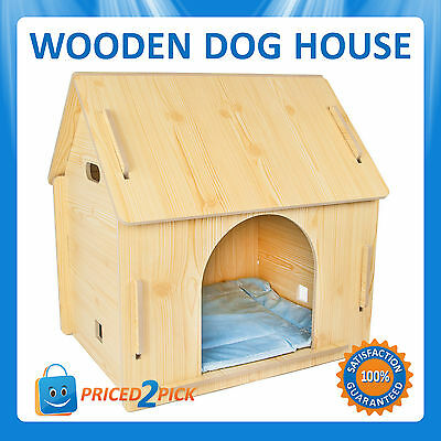 Indoor Outdoor Wooden Wood Pet Dog Cat House Bed Kennel Small Medium Large Size