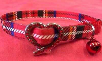 Cat Kitten Collar Red  Tartan Red Jewels & Bell Quick Release Safety Adjustable