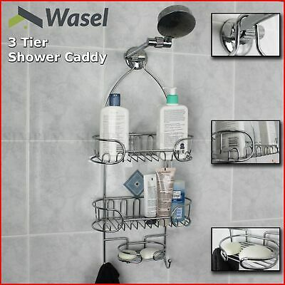 Shower Caddy Chrome Organiser Bath Shelf Shelves Storage Rack Hang Hook Bathroom