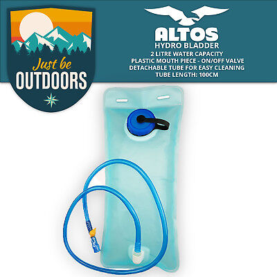 Hydration Bladder 2L Blue, Yellow Mouthpiece Backpack Hiking Water Fits Camelbak