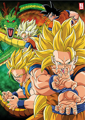 Sticker Poster Manga Dragon Ball Z Deco. Sangoku Songoku All Transformation Dbz.