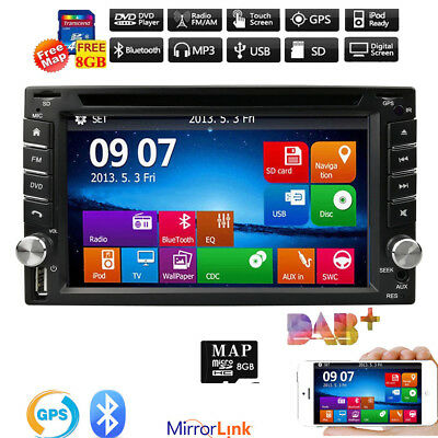 "6.2"" GPS 2DIN In Dash Car Stereo DVD CD MP3/4 Player Bluetooth iPod TV Radio+Map"
