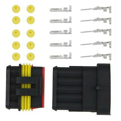 1 Kit 5 Pin Way Male & Female Waterproof Electrical Wire Connector Plug