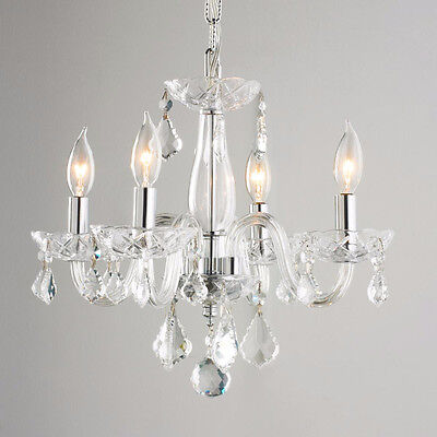 "US BRAND Clarion Venetian 4 Light Clear Crystal Mini Small Chandelier 16""W x 12"""