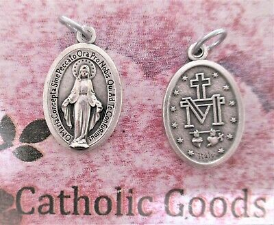 Miraculous Medal - Traditional Latin  - Oxidized Die Cast Italian 1 inch Medal