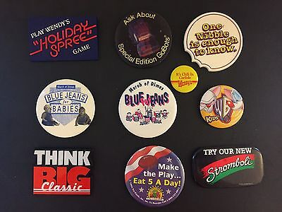Vintage Wendy's Restaurant Employee Button Badge Pin Lot