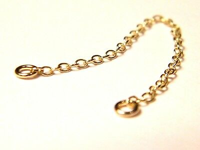 18ct Yellow Gold  Bracelet Safety Chain 12/18 Necklace-Extender Findings 18K