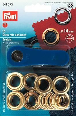 Prym 10pcs 14mm Gold eyelets with washers and fixing tool Leather Craft 541373